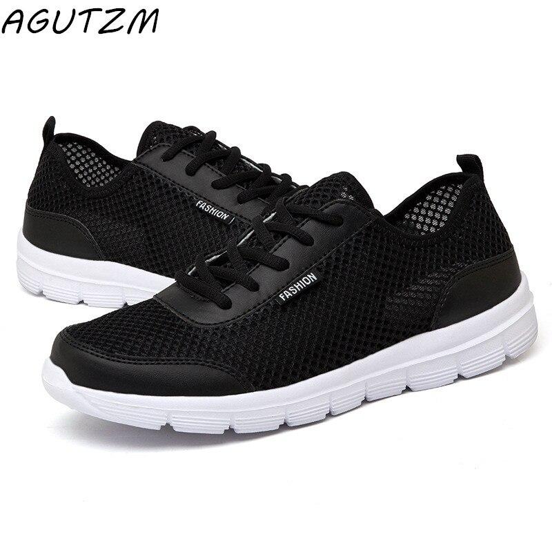 Men Shoes 2018 Summer Sneakers Breathable Casual Shoes Fashion Comfortable Lace up Men Sneakers Mesh Flats Shoes Plus Size 38-48 недорго, оригинальная цена