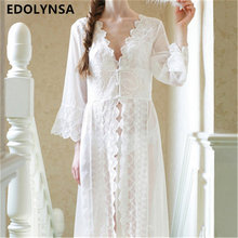 Nightgowns Sleepshirts 2018 Lace Robe Sexy Sleepwear Dresses Princes Women Kimono Dressing Gown Nightgown Lingerie Camisola #Q14(China)