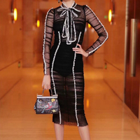 High Quality 2018 Designer Runway Dress Women's Sexy Sheath Bodycon Lace Embroidery Ruffle button black Fold Strap Dress