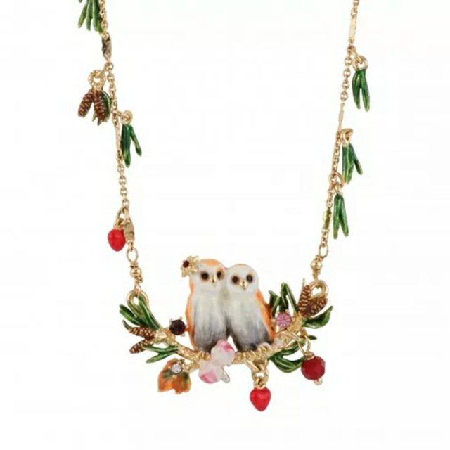 France New Product Enamel Glaze Owl Series Snow Owl Crystal Pine Needles Long Sweater Chain Woman Gold-plated Ornaments