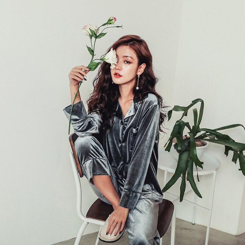 fashion Long Sleeve Gold Velvet Pajamas Set Winter Women Warm Pajama Sets Plus Size Sleepwear Pyjama 3XL 4XL 5XL Nightwear Set 17