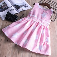Everweekend Girls Bow Stars Print Striped Ruffles Dress Cute Baby Pink And Blue Color Clothes Princess