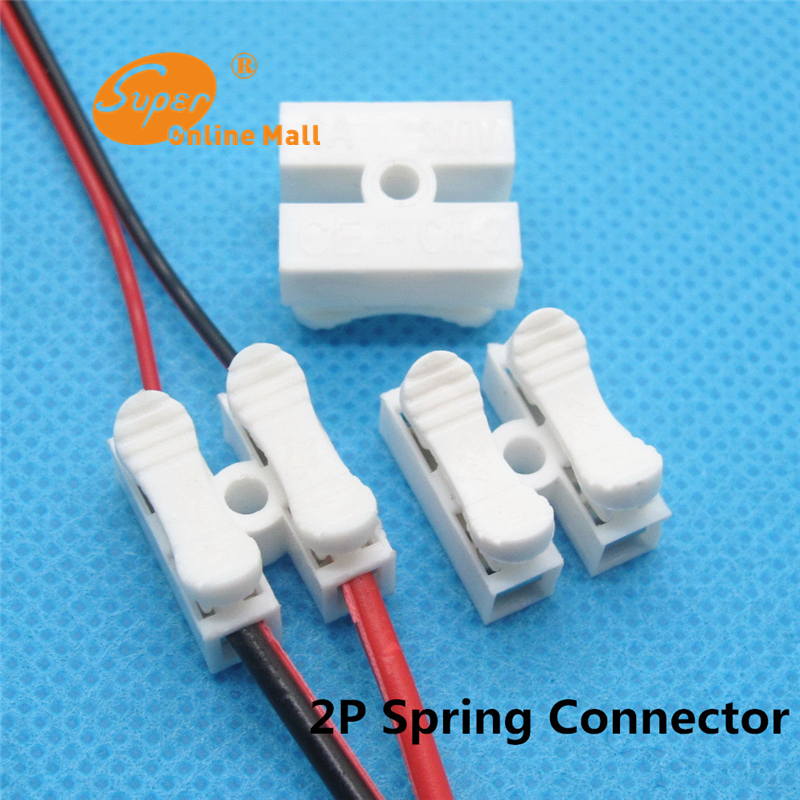 10 Pcs 2P Spring Connector LED Strip Light Wire Connecting