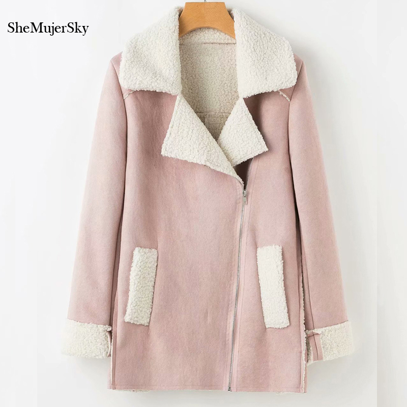 SheMujerSky Women Winter Suede Lamb Fur Jacket Coat Women Faux suede Jackets Pink jaqueta feminina