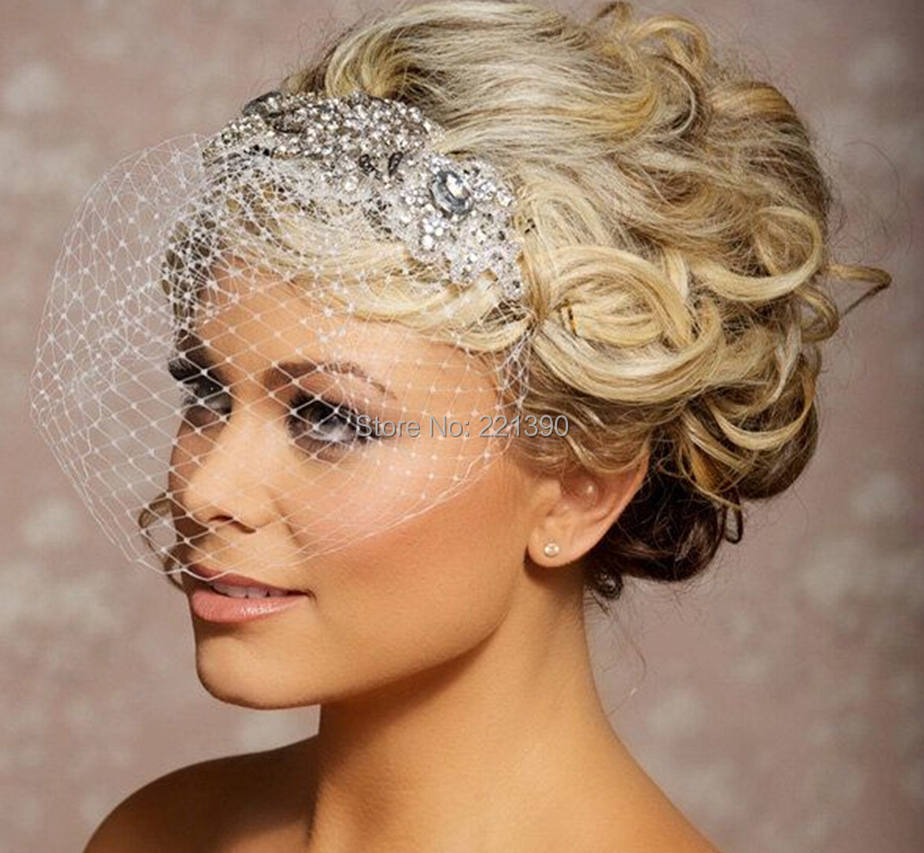Gorgeous Velos De Novia White Ivory Veil 1T Net Headpiece Wedding Veils Bridal With Comb Beaded Crystal Face In From Weddings