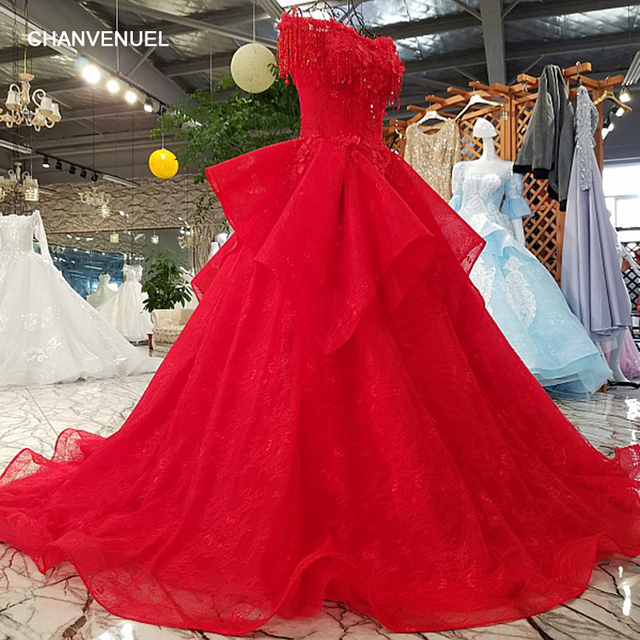 LS45852 lace up red evening dress with lace,flowers and beading ...