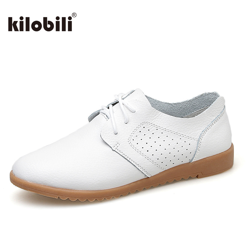 kilobili Spring Women Flats Cow   Leather   Lace up Shoes Ladies Ballet Flats Shoes Female Boat Oxford Shoes Moccains Ladies Autumn