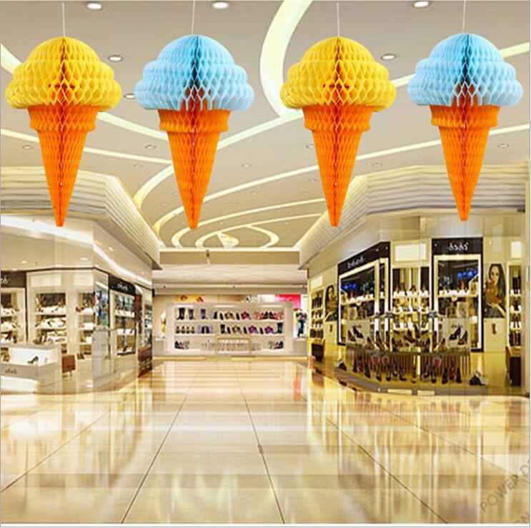 5 Pz/lotto Di Ghiaccio Crema Palle A Nido D'ape Lanterne Di Carta Decorazioni Di Nozze Supermercati Acquisto Mercati Decorazione Esterna
