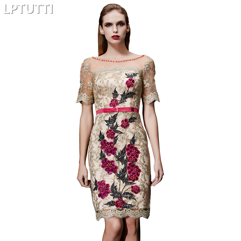 LPTUTTI Crystal Embroidery New Sexy Woman Social Festive Elegant Formal Prom Party Gowns Fancy Short Luxury   Cocktail     Dresses