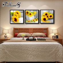 FULLCANG diy 5d diamond embroidery sunflower and fruit triptych painting 3 piece full square/round drill mosaic pattern FC651