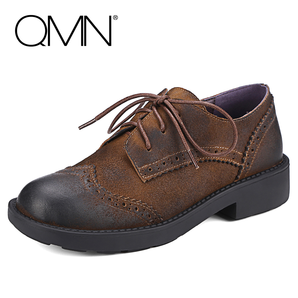 QMN women distressed brushed cow suede brogue shoes Women Round Toe Lace Up Oxfords Shoes Woman Genuine Leather Flats qmn women brushed leather platform brogue shoes women round toe lace up oxfords flat casual shoes woman genuine leather flats