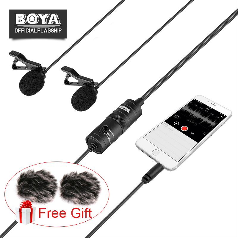 $29.95 BOYA BY-M1DM Dual Lavalier Microphone Clip-on Lapel Mic with a 1/8