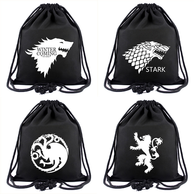 Canvas Black Drawstring Bags Movies Anime Game of Thrones Winter Coming Stark Backpack for Young Students Gifts Drawstring Bag цена
