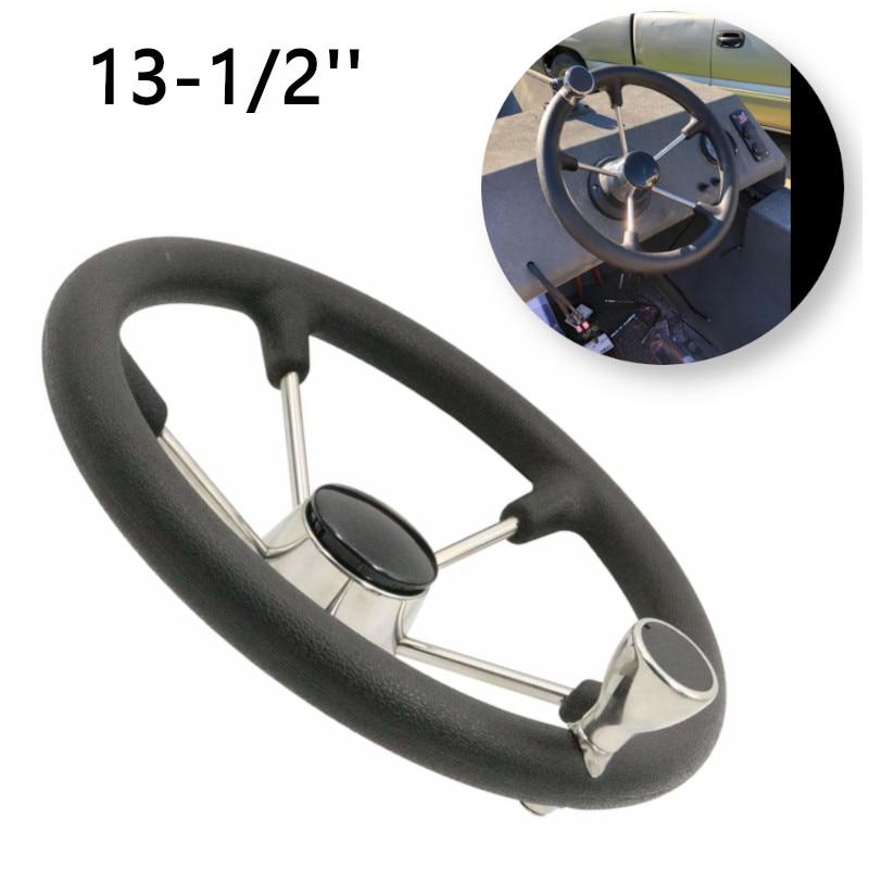 13-1/2'' Boat Marine Destroyer Steering Wheel 5 Spoke With Black Foam Grip Knob Marine Boat Yacht Accessories