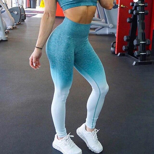 3d1396642b1d3d Kaminsky Ombre Seamless Leggings Push Up Fashion Pants High Waist Workout  Jogging For Women Athleisure Training