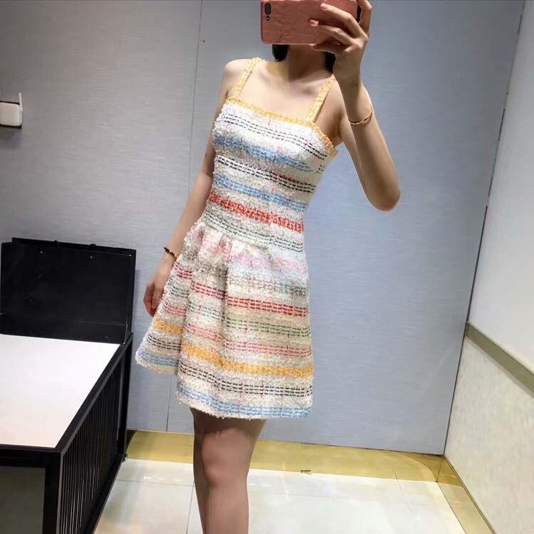 Kadın Giyim'ten Elbiseler'de Kadın moda 2019 çizgili spagetti kayışı elbiseler at190178'da  Grup 1