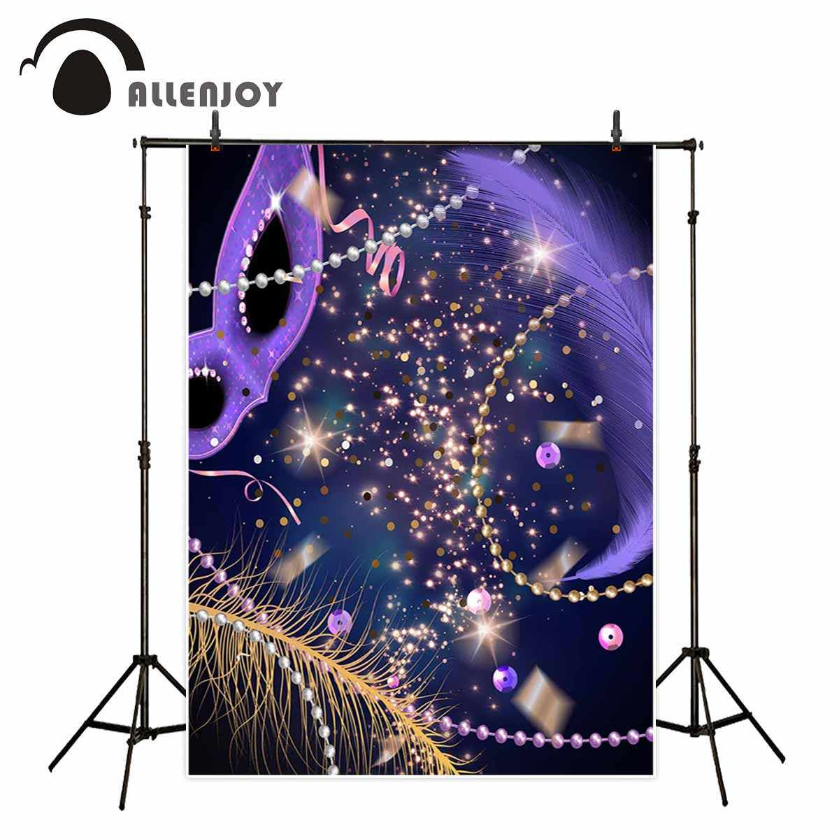Allenjoy masquerade party purple backdrop jewelry feather shiny gorgeous background fund studio photo new photographic backdrops