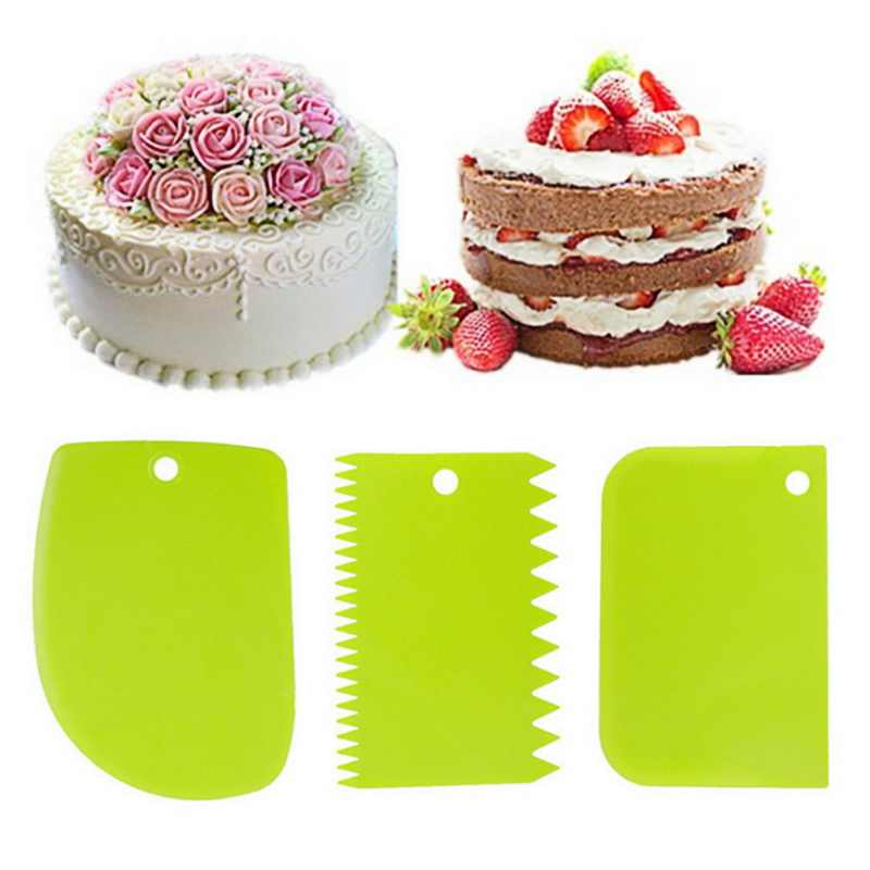 Hoomall 3PCS/Set DIY Multifunctional Irregular Teeth Edge Kitchen Baking Tools Cake Cream Scraper Set Cake Decorating Tools