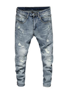 Ripped Jeans Trousers Light-Blue Men Pants Slim-Fit Skinny High-Street-Style Casual Frayed