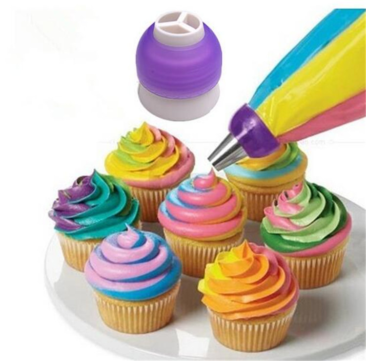 Us 1 84 7 Off Three Colour Nozzles Converter Dessert Decorators Cake Decorating Icing Piping Cream Syringe Tips Muffin Pastry Diy Baking Tools In