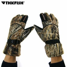 Plus Velvet Thickening Winter Gloves Camo Windproof Waterproof Anti-slip Camouflage Outdoor Movement Fishing Hunting Gloves