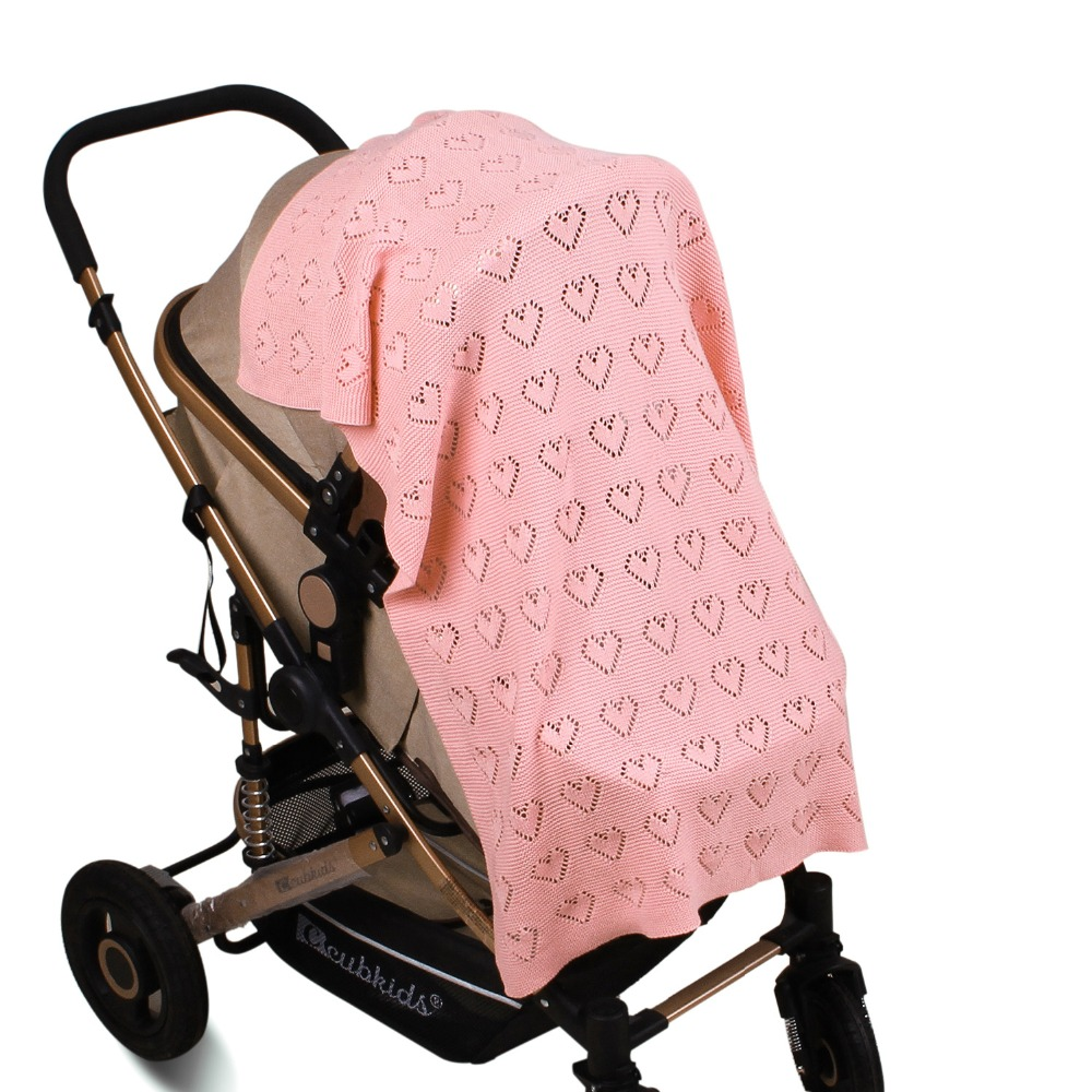 Image 4 - 80X100cm Cotton knitted crochet heart hollow thin summer wrap Baby knitted Blanket Toddler kids back seat cover stroller cover-in Blanket & Swaddling from Mother & Kids