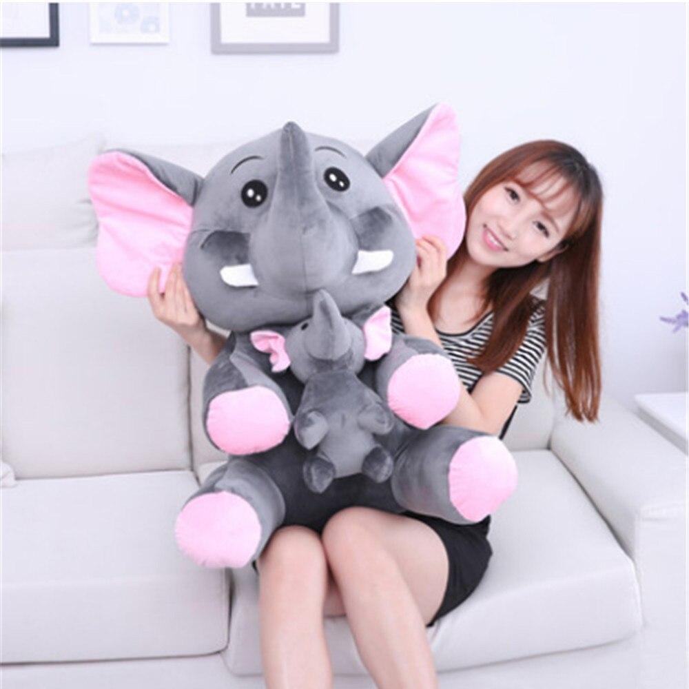 Fancytrader милый большой плюшевый слон мама и ребенок игрушки прекрасный аниме слон кукла для детей подарок 70 см 28 дюймов - Цвет: gray