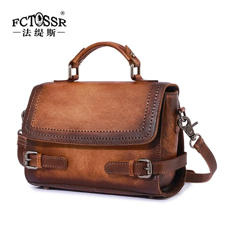 Leather Women Handbag New Cowhide Retro Casual Shoulder Messenger Bag Original Handmade Leather Belt Decoration Bag