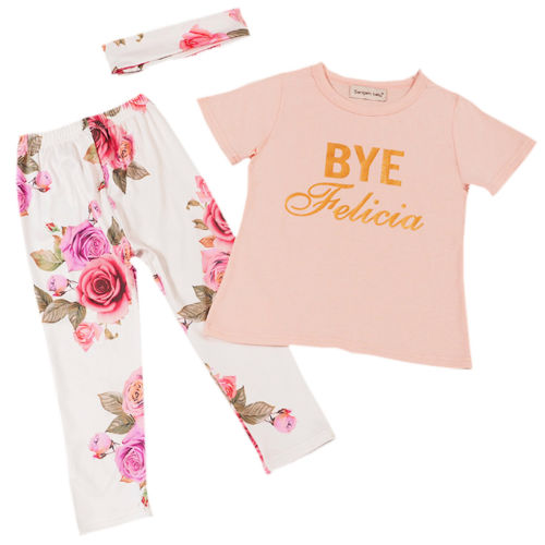 Outfits Top-Shirt Short-Sleeve-Sets Neck-Sets Long-Pants Toddler Newborn Floral Baby-Girl