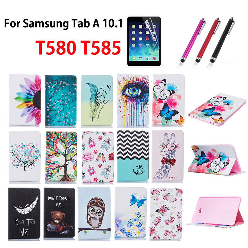 Fashion Painted Case Cover For Samsung Galaxy Tab A A6 10.1 2016 T580 T585 T580N Case Funda Tablet Stand Skin Shell+Stylus+film