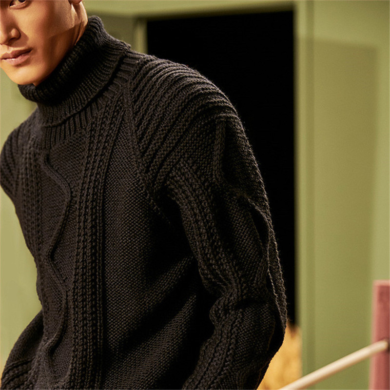 New Fashion 100% Hand Made Pure Wool Knit Men Solid Turtleneck H-straight Pullover Sweater One&over Size