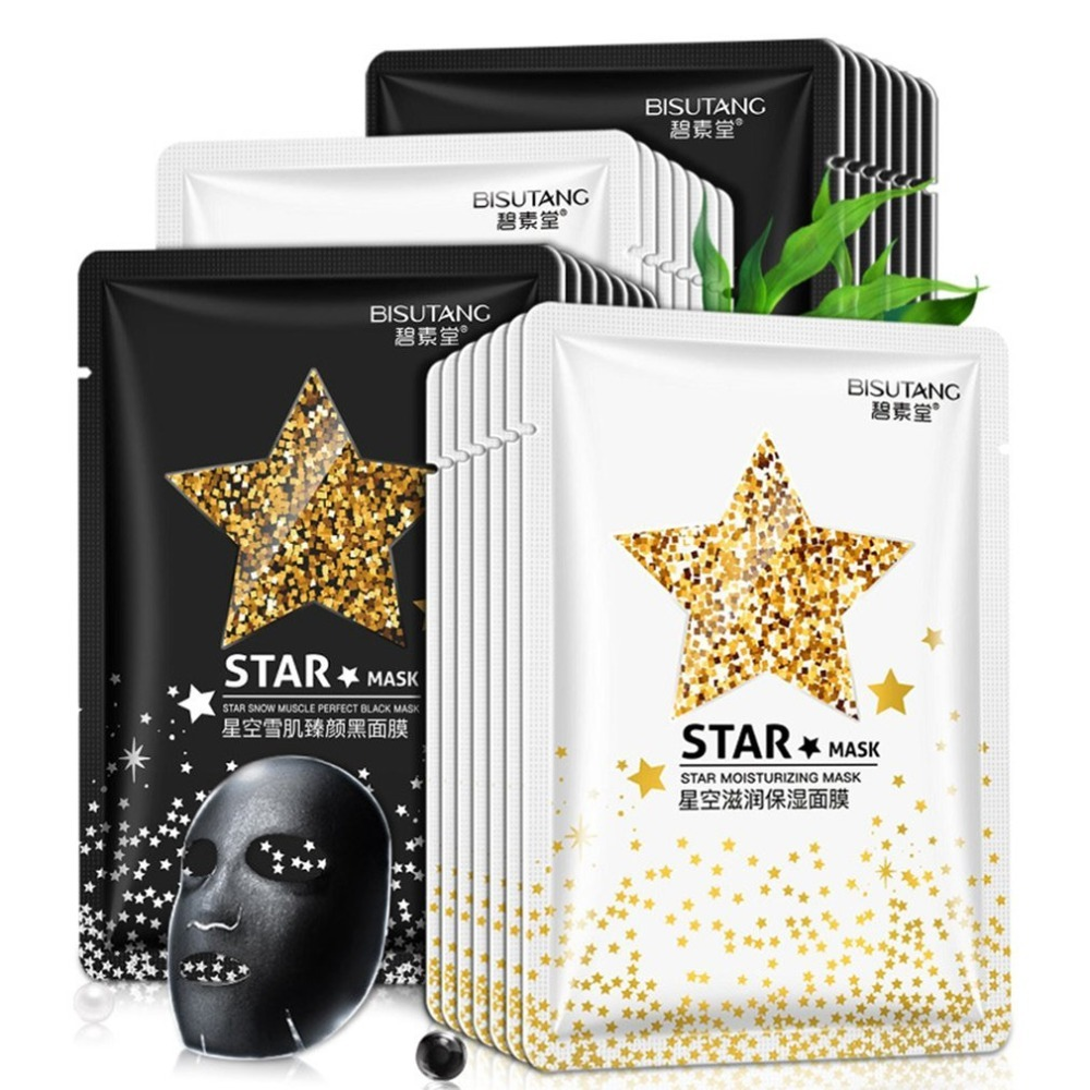 10pcs/set STAR MASK Glitter Gold Black Face Mask Black Dots Remover Peel off Wrapped Mask Facial Skin Care Beauty Hot Selling