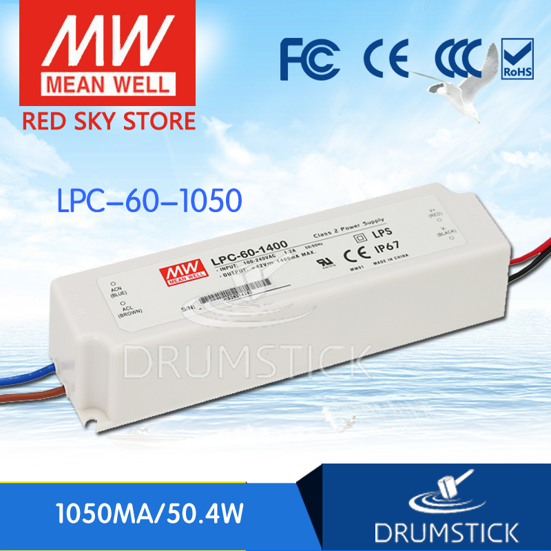 Hot! MEAN WELL LPC-60-1050 48V 1050mA meanwell LPC-60 48V 50.4W Single Output LED Switching Power SupplyHot! MEAN WELL LPC-60-1050 48V 1050mA meanwell LPC-60 48V 50.4W Single Output LED Switching Power Supply
