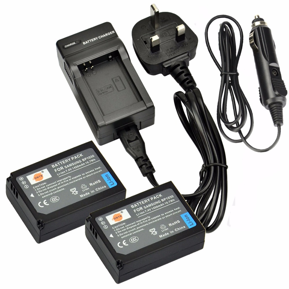 DSTE 2PCS BP1030 BP-1030 Rechargeable Battery + Travel and Car <font><b>Charger</b></font> for <font><b>Samsung</b></font> NX300 <font><b>NX1000</b></font> NX210 NX2000 NX300M NX500 Camera image