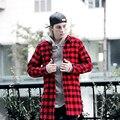 Homens Streetwear Camisa Xadrez Preto e Vermelho Com Zíper Lateral Mens Camisas Do Punk Padrão Xadrez Novo 2017 Estilo Britânico Frete Grátis