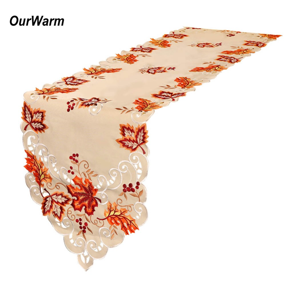 OurWarm 38X170cm Embroidered Table Runners Wedding Decoration For Home Thanksgiving Party Supplies Maple Leaves Table Runner