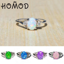 HOMOD Elegant White/Green/Pink/Purple/Blue Fire Opal Ring Fashion Jewelry For Women Wedding Party Gift Dropshipping
