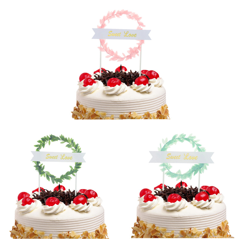 Cake Toppers Flags Sweet Love Glitter Cupcake Topper Kids Gift Happy Birthday Wedding Baby Shower Baking Party DIY Xmas Decor