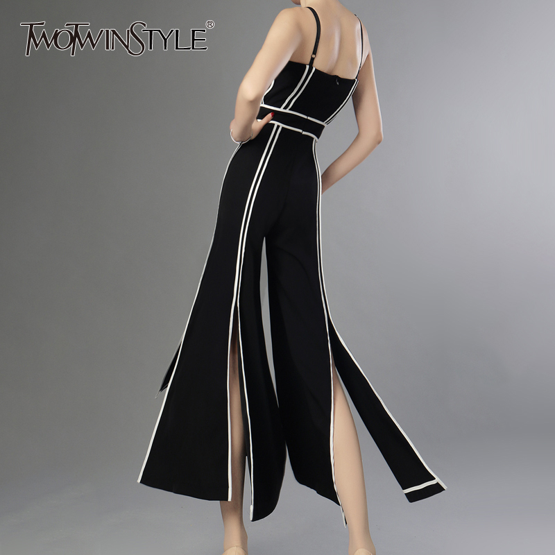 TWOTWINSTYLE Split Jumpsuits For Women Spaghetti Strap Backless Patchwork High Waist Oversize Long Wide Leg Pants Summer Sexy falbala pleated backless high waist wide legs jumpsuits
