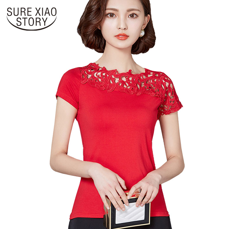 new 2019 fashion plus size women's clothing shirt short hollow slim sexy women blouse shirt red solid women tops blusas 811 45