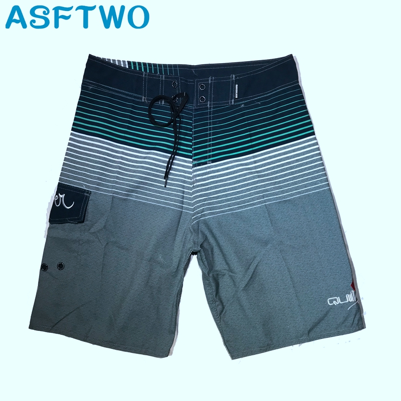 ASFTWO Swim Trunks Male Polyester Surf   Shorts   Mens Striped Bermuda Beach   Board     Shorts   Large 30 32 34 36 38 Home Casual   Shorts