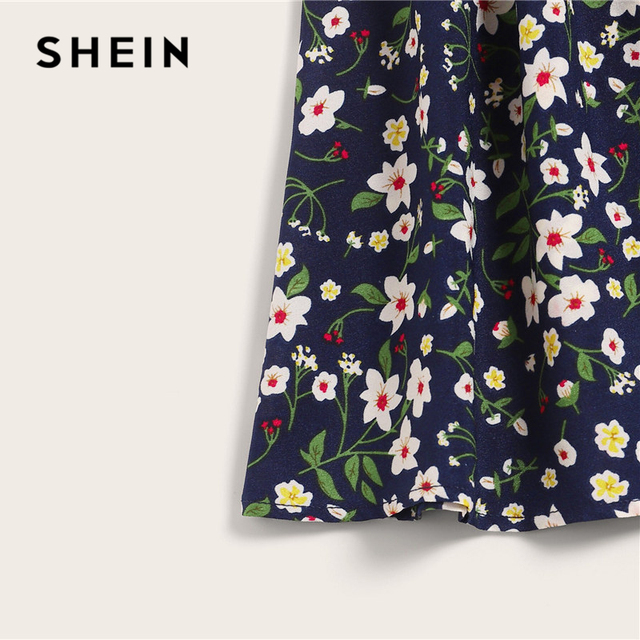 SHEIN Plus Size Navy Ditsy Floral Print Paperbag Waist Belted Skirt 2019 Women Summer Boho A Line Flared Pleated Mini Skirts 3