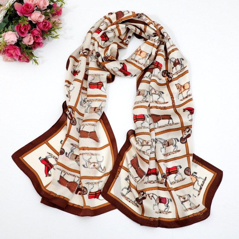 Horse Wide Scarf Girl Neck Wear Luxury Design Wraps Pure Silk Long Shawl Women s Scarves