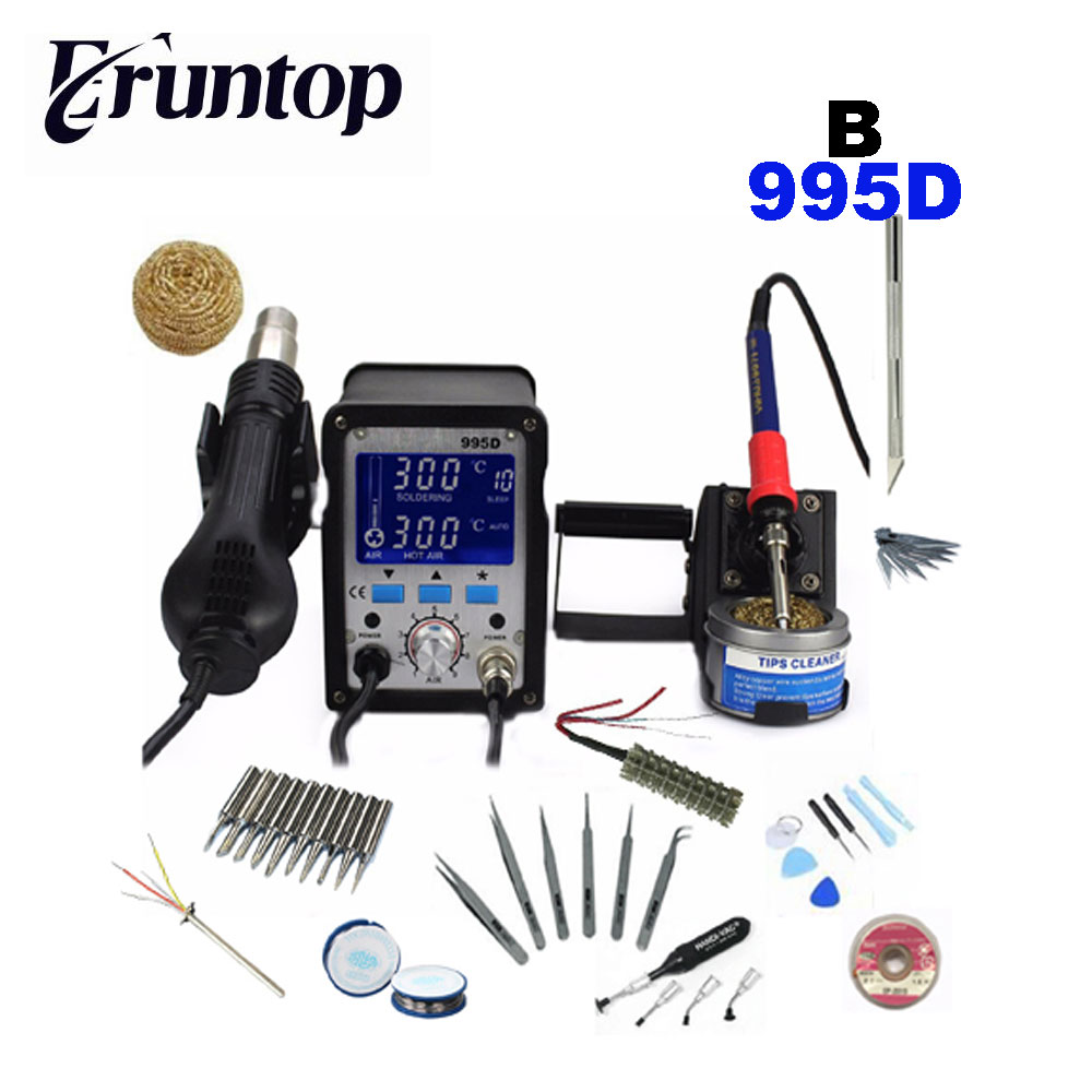 YIHUA 995D Lead Free Iron Soldering Station With Hot Air Station Soldering LCD Rework Station цены