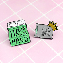 Cute Pillow Brooch Hard Pillow Queen Cartoon Bed and Pillow Shape Cute Brooch Shining Crown and Word Creative Badge(China)