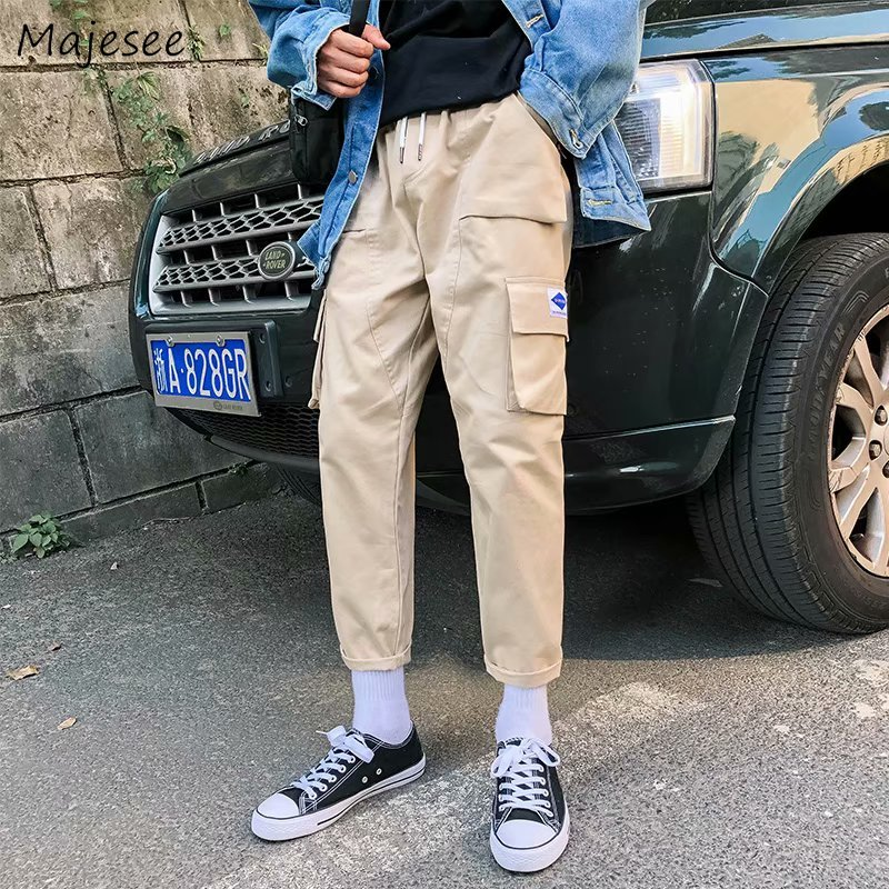 Pants Pants Men Solid Simple All-match Ankle-length Pockets Leisure Daily Cargo Pant Mens Hip Hop Korean Style Students Trousers New Cargo Pants