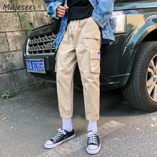 Pants Men Autumn Pockets Leisure Simple All match Korean Style Cargo Pant Mens Ankle length Trendy