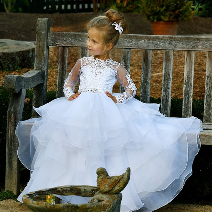 White Princess   Flower     Girl     Dress   with Button Tiered Long Sleeves Vintage Christmas Birthday   Dress   Decorated with Beading Crystal