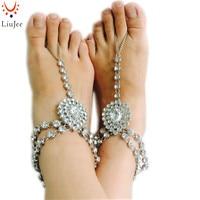 En Çok Satan Tasarım Vücut Zincir Kristal Takı Yalınayak Sandalet Moda El Zincir Takı Kundan Taş Halhal