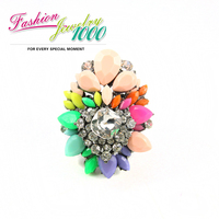 New Brand Design Resin Flower Ring Costume Party Jewelry Free Shipping